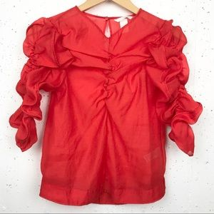 H&M Sheer Ruched Puff Sleeve Blouse Red Size 4